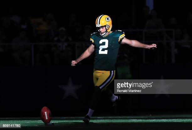 Mason Crosby of the Green Bay Packers kicks off to the Dallas Cowboys in the fourth quarter at ATT Stadium on October 8 2017 in Arlington Texas