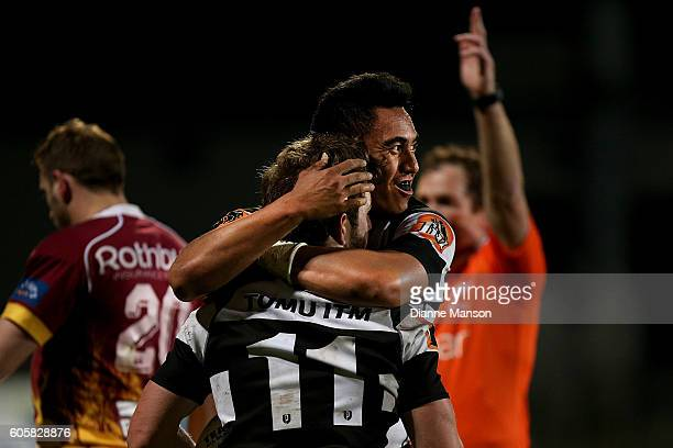 Mason Emerson of Hawkes Bay celebrates his try during the round five Mitre 10 Cup match between Southland v Hawke's Bay at Rugby Park Stadium on...