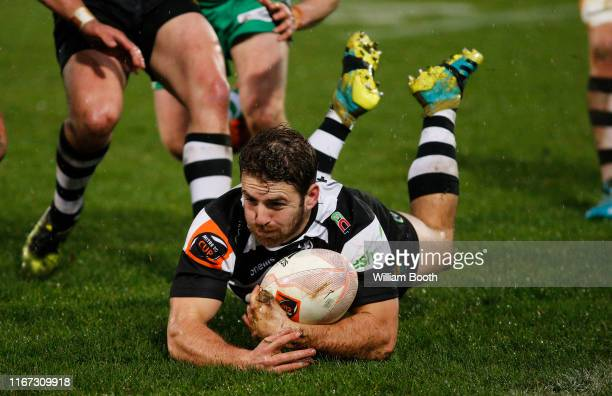 Mason Emerson of Hawkes Bay gathers the ball during the round 1 Mitre 10 Cup match between Manawatu and Hawke's Bay at Central Energy Trust Arena on...