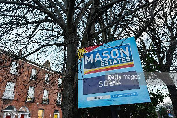 Mason Estates sign in front of the 'sold' house in Ranelagh as more and more signs can be seen around Dublin since the end of 2016 bringing back the...