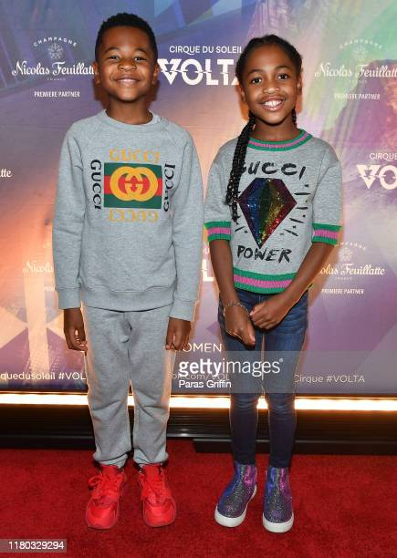 Mason Evan Smith and Madeline Grace Smith attend the Atlanta premiere of VOLTA By Cirque du Soleil at Atlantic Station on October 10, 2019 in...
