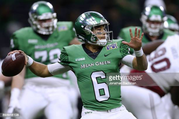 Mason Fine of the North Texas Mean Green throws the ball during the first half of the RL Carriers New Orleans Bowl against the Troy Trojans at the...