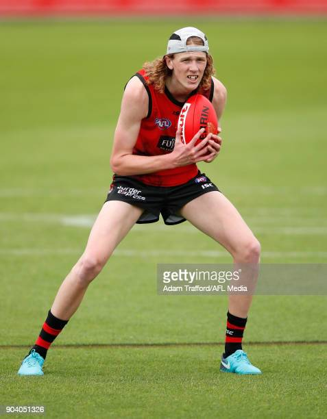 Mason Fletcher son of Essendon champion Dustin Fletcher trains with the team during the Essendon Bombers training session at The Hangar on January 12...
