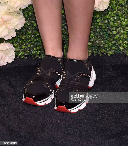 Mason Grammer shoe detail attends the grand opening of Vanderpump Cocktail Garden at Caesars Palace on March 30 2019 in Las Vegas Nevada