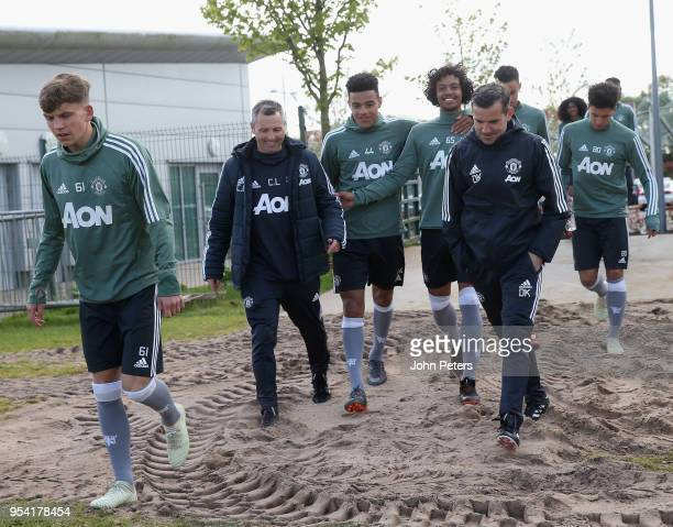 Mason Greenwood and D'Mani BughailMellor of Manchester United U18s in action during an U18s training session at Aon Training Complex on May 2 2018 in...