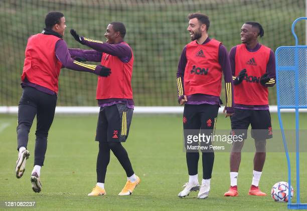 Mason Greenwood Odion Ighalo Bruno Fernandes Aaron WanBissaka of Manchester United in action during a first team training session ahead of the UEFA...