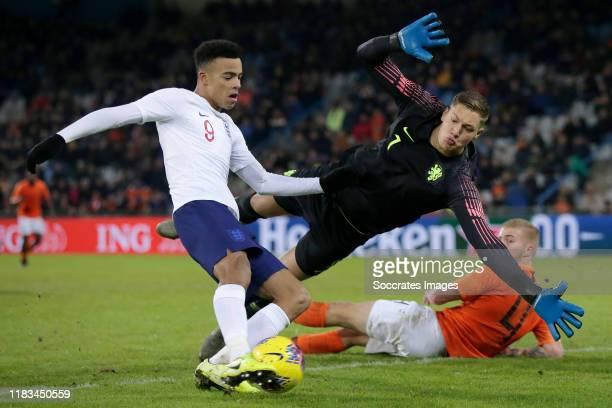 Mason Greenwood of England U21 scores 1-1 during the U21 Men match between Holland U21 v England U21 at the De Vijverberg on November 19, 2019 in...