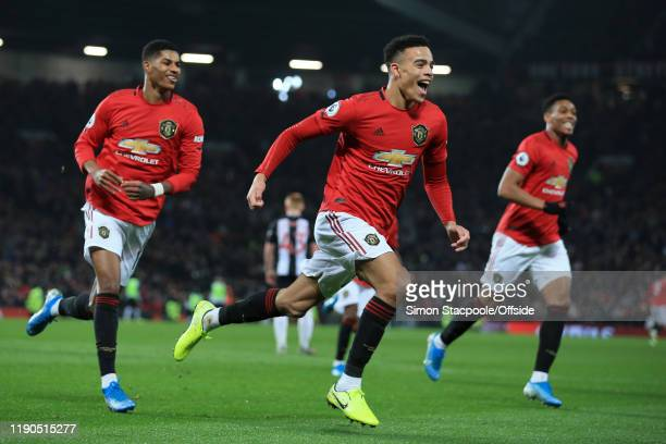 Mason Greenwood of Man Utd celebrates after scoring their 2nd goal during the Premier League match between Manchester United and Newcastle United at...