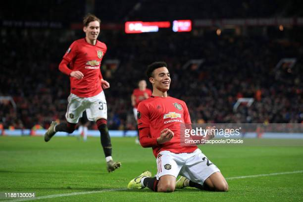 Mason Greenwood of Man Utd celebrates after scoring their 4th goal during the UEFA Europa League group L match between Manchester United and AZ...