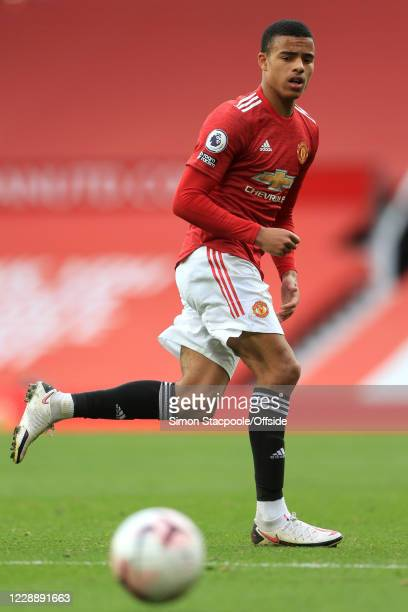 Mason Greenwood of Man Utd during the Premier League match between Manchester United and Tottenham Hotspur at Old Trafford on October 4 2020 in...