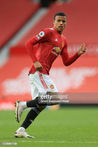 Mason Greenwood of Man Utd looks on during the Premier League match between Manchester United and Tottenham Hotspur at Old Trafford on October 4 2020...