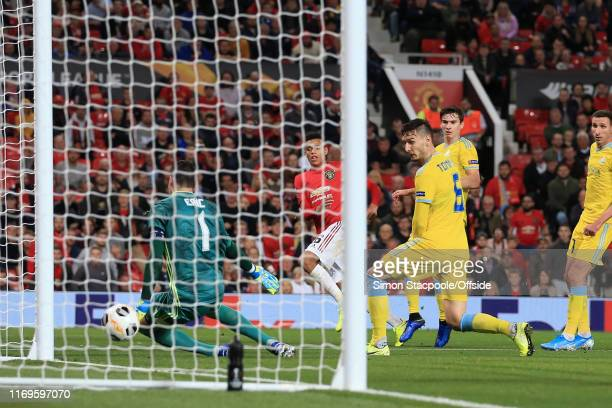 Mason Greenwood of Man Utd scores their 1st goal during the UEFA Europa League group L match between Manchester United and FK Astana at Old Trafford...