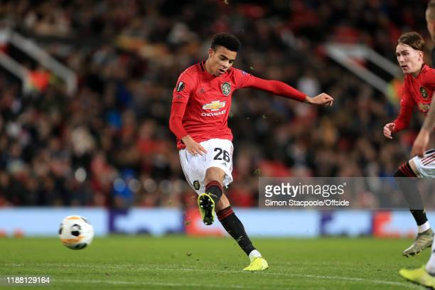 Mason Greenwood of Man Utd scores their 2nd goal during the UEFA Europa League group L match between Manchester United and AZ Alkmaar at Old Trafford...