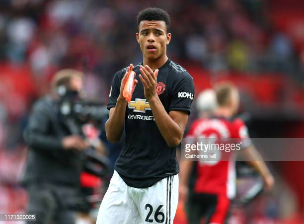 Mason Greenwood of Manchester United applauds fans after the Premier League match between Southampton FC and Manchester United at St Mary's Stadium...