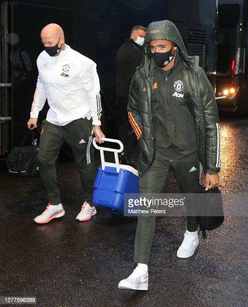 Mason Greenwood of Manchester United arrives ahead of the Carabao Cup fourth round match between Brighton and Hove Albion and Manchester United at...