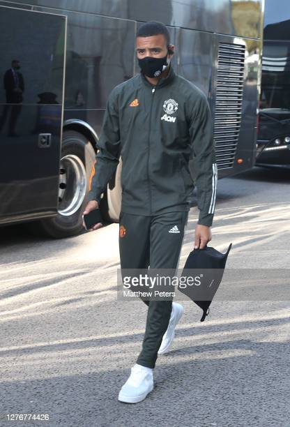 Mason Greenwood of Manchester United arrives ahead of the Premier League match between Brighton Hove Albion and Manchester United at American Express...