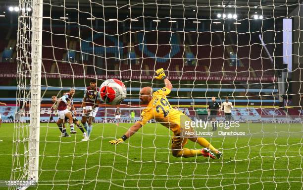 Mason Greenwood of Manchester United beats Pepe Reina of Aston Villa to score their second goal during the Premier League match between Aston Villa...