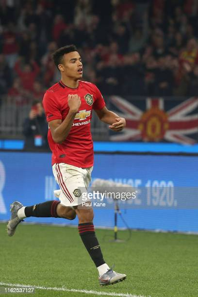 Mason Greenwood of Manchester United celebrates a goal during a preseason friendly match between Manchester United and Leeds United at Optus Stadium...