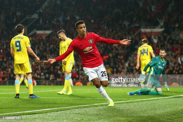 Mason Greenwood of Manchester United celebrates after scoring a goal to make it 10 during the UEFA Europa League group L match between Manchester...