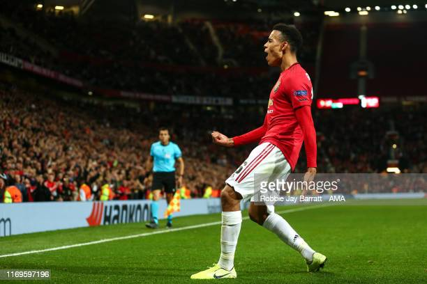 Mason Greenwood of Manchester United celebrates after scoring a goal to make it 1-0 during the UEFA Europa League group L match between Manchester...