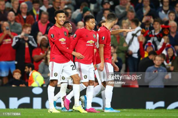 Mason Greenwood of Manchester United celebrates after scoring his sides first goal during the UEFA Europa League group L match between Manchester...