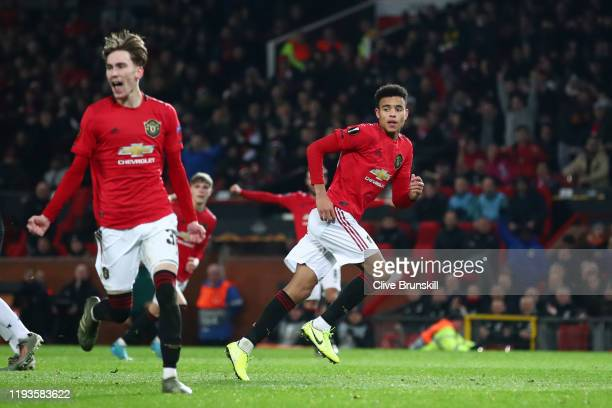 Mason Greenwood of Manchester United celebrates after scoring his team's second goal during the UEFA Europa League group L match between Manchester...