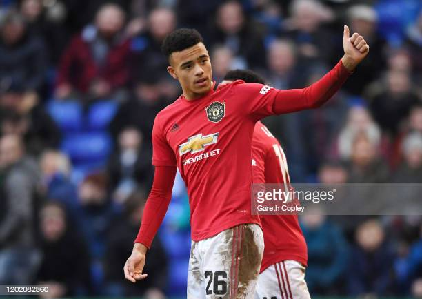 Mason Greenwood of Manchester United celebrates after scoring his team's sixth goal during the FA Cup Fourth Round match between Tranmere Rovers and...