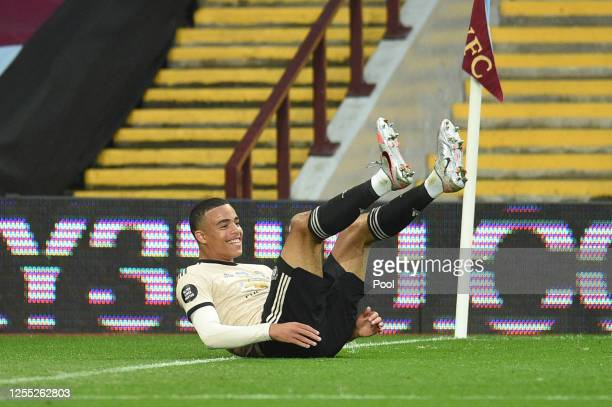 Mason Greenwood of Manchester United celebrates after scoring his team's second goal during the Premier League match between Aston Villa and...
