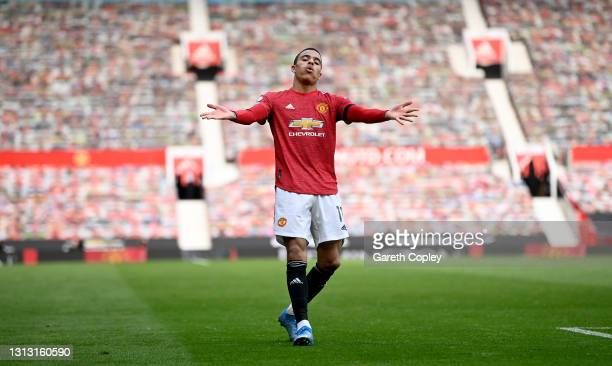 Mason Greenwood of Manchester United celebrates after scoring his team's second goal during the Premier League match between Manchester United and...