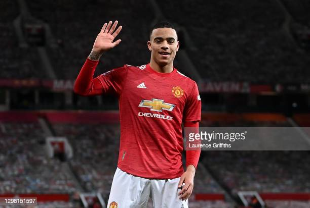 Mason Greenwood of Manchester United celebrates after scoring their sides first goal during The Emirates FA Cup Fourth Round match between Manchester...