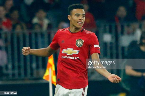Mason Greenwood of Manchester United celebrates his goal during the match between Manchester United and Leeds United at Optus Stadium on July 17 2019...