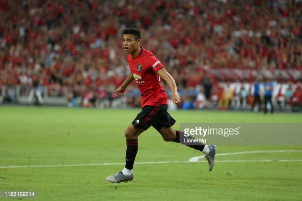 Mason Greenwood of Manchester United celebrates scoring a goal during the 2019 International Champions Cup match between Manchester United and FC...