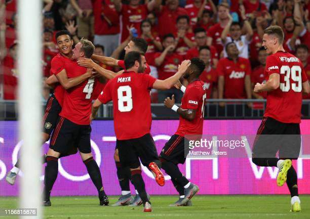 Mason Greenwood of Manchester United celebrates scoring a goal to make the score 10 with his teammates during the 2019 International Champions Cup...