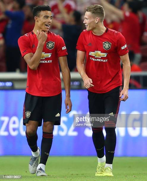 Mason Greenwood of Manchester United celebrates scoring a goal to make the score 10 with Scott McTominay during the 2019 International Champions Cup...