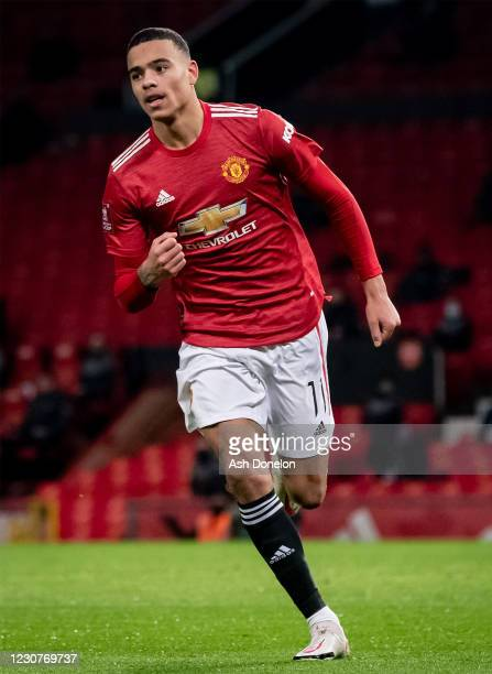 Mason Greenwood of Manchester United celebrates scoring a goal to make the score 1-1 during the Emirates FA Cup Fourth Round match between Manchester...