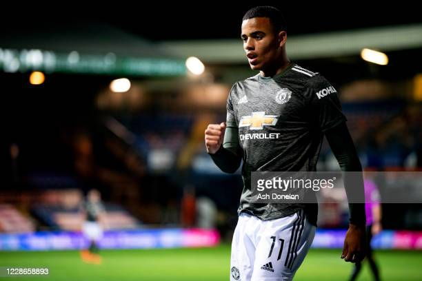 Mason Greenwood of Manchester United celebrates scoring his teams third goal during the Carabao Cup Third Round match between Luton Town and...