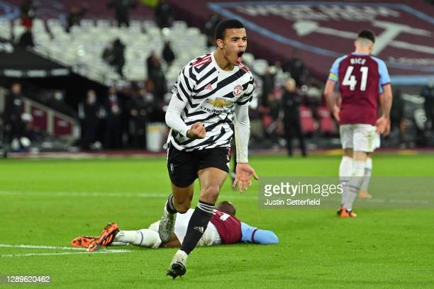 Mason Greenwood of Manchester United celebrates scoring the 2nd Manchester United goal during the Premier League match between West Ham United and...