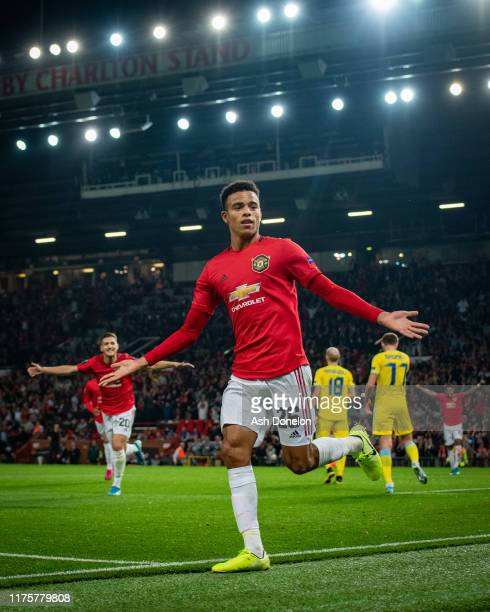 Mason Greenwood of Manchester United celebrates scoring their first goal during the UEFA Europa League group L match between Manchester United and FK...
