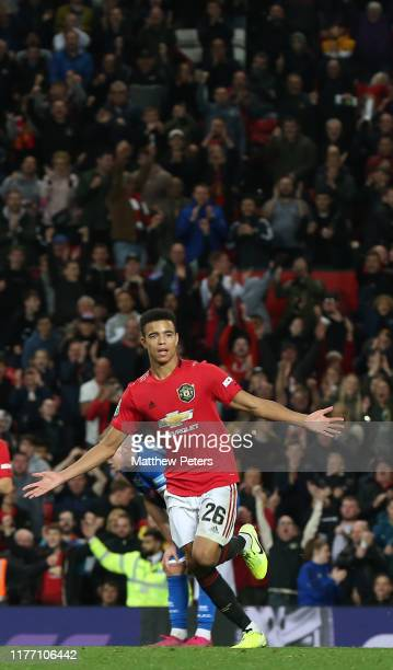 Mason Greenwood of Manchester United celebrates scoring their first goal during the Carabao Cup Third Round match between Manchester United and...