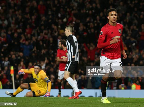 Mason Greenwood of Manchester United celebrates scoring their first goal during the UEFA Europa League group L match between Manchester United and...