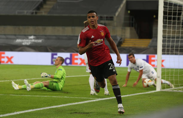 Mason Greenwood of Manchester United celebrates scoring their first goal before it is ruled out for offside during the UEFA Europa League Quarter...