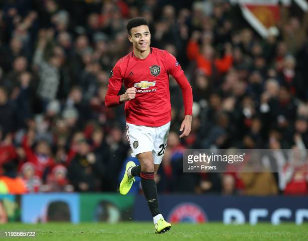 Mason Greenwood of Manchester United celebrates scoring their fourth goal during the UEFA Europa League group L match between Manchester United and...