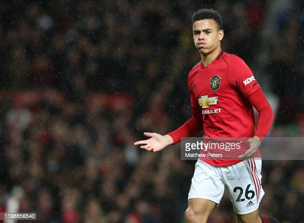 Mason Greenwood of Manchester United celebrates scoring their fourth goal during the Premier League match between Manchester United and Norwich City...