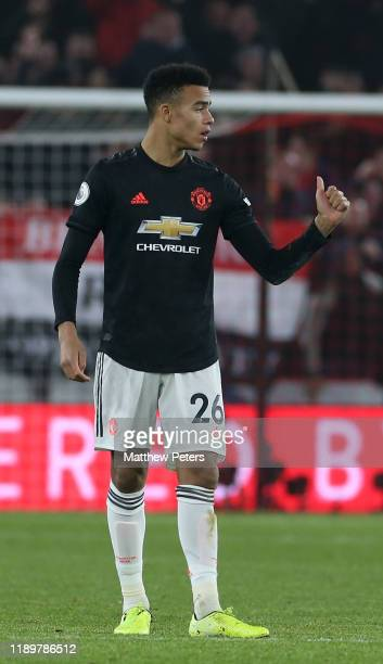 Mason Greenwood of Manchester United celebrates scoring their second goal during the Premier League match between Sheffield United and Manchester...