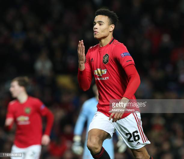 Mason Greenwood of Manchester United celebrates scoring their second goal during the UEFA Europa League group L match between Manchester United and...