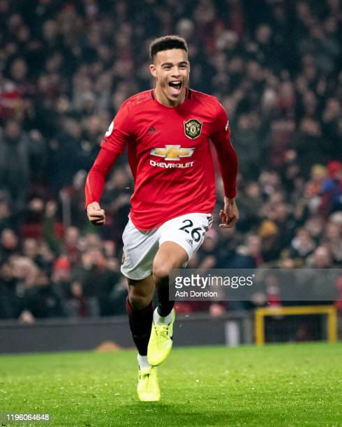 Mason Greenwood of Manchester United celebrates scoring their second goal during the Premier League match between Manchester United and Newcastle...