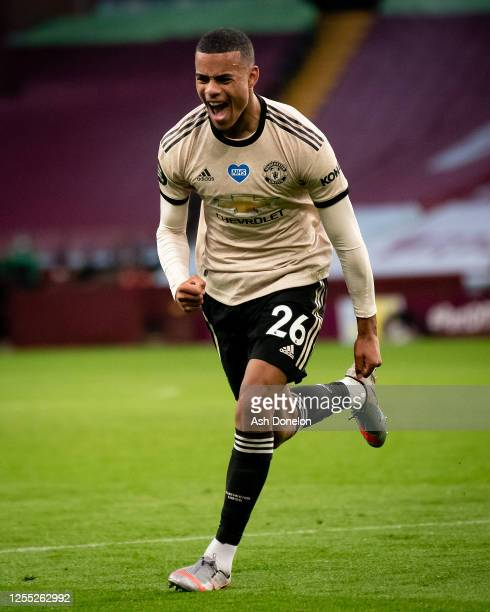 Mason Greenwood of Manchester United celebrates scoring their second goal during the Premier League match between Aston Villa and Manchester United...