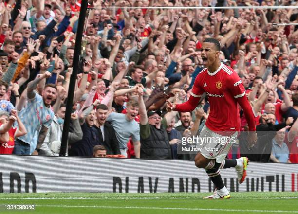 Mason Greenwood of Manchester United celebrates scoring their second goal during the Premier League match between Manchester United and Leeds United...