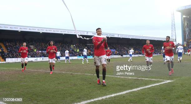 Mason Greenwood of Manchester United celebrates scoring their sixth goal during the FA Cup Fourth Round match between Tranmere Rovers and Manchester...