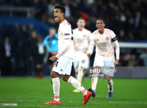 Mason Greenwood of Manchester United celebrates the awarding of the penalty during the UEFA Champions League Round of 16 Second Leg match between...
